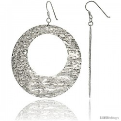 Sterling Silver Extra Large Doughnut Dangle Earrings, Textured Finish, 2 9/16 in. (65 mm)