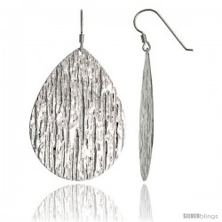 Sterling Silver Extra Large Teardrop Dangle Earrings, Textured Finish, 2 in. (51 mm) tall