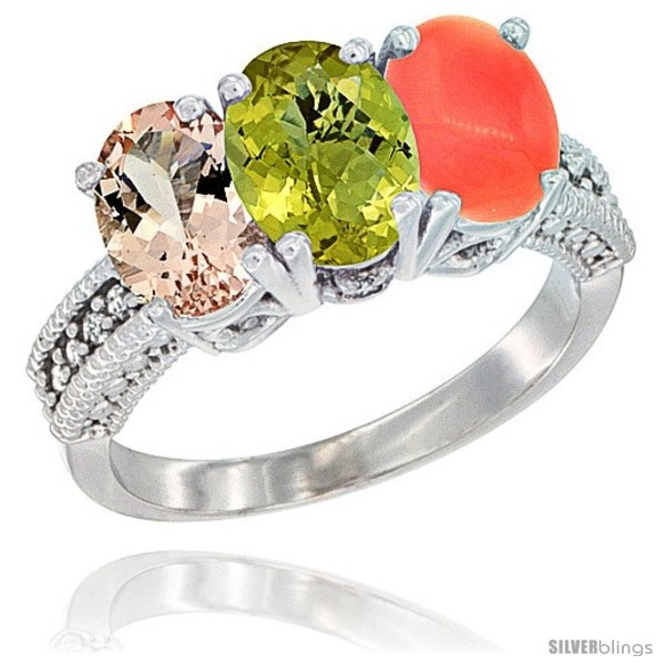https://www.silverblings.com/1268-thickbox_default/10k-white-gold-natural-morganite-lemon-quartz-coral-ring-3-stone-oval-7x5-mm-diamond-accent.jpg