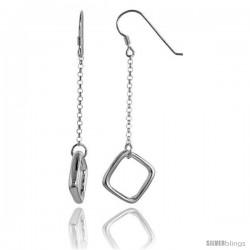 Sterling Silver Square Drop Earrings, 2 3/8 in long