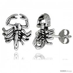 Small Sterling Silver Scorpion Stud Earrings 9/16 in