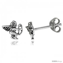 Tiny Sterling Silver Cupid Stud Earrings 5/16 in
