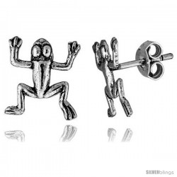 Tiny Sterling Silver Frog Stud Earrings 1/2 in