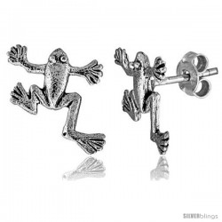 Tiny Sterling Silver Frog Stud Earrings 1/2 in -Style Es114