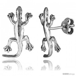 Tiny Sterling Silver Gecko Stud Earrings 3/4 in