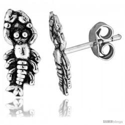 Tiny Sterling Silver Lobster Stud Earrings 1/2 in