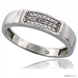 10k White Gold Mens Diamond Wedding Band Ring 0.03 cttw Brilliant Cut, 3/16 in wide