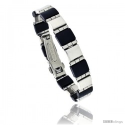 Stainless Steel and Rubber Bracelet, 8 in long -Style Bss3