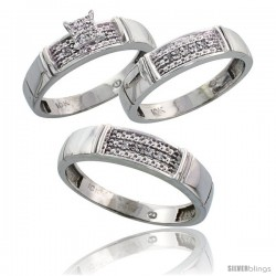 10k White Gold Diamond Trio Engagement Wedding Ring 3-piece Set for Him & Her 5 mm & 4.5 mm, 0.13 cttw Brilliant Cut