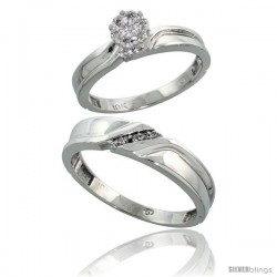 10k White Gold Diamond Engagement Rings 2-Piece Set for Men and Women 0.09 cttw Brilliant Cut, 3.5mm & 5mm wide