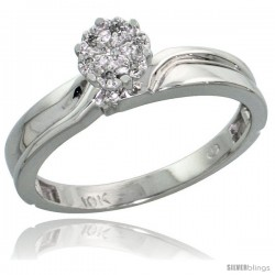 10k White Gold Diamond Engagement Ring 0.05 cttw Brilliant Cut, 1/8 in wide -Style 10w008er