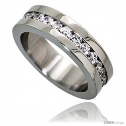 Surgical Steel Cubic Zirconia Eternity Ring 6mm Wedding Band