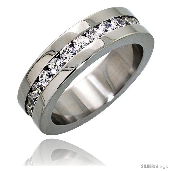 surgical steel cubic zirconia eternity ring 6mm wedding