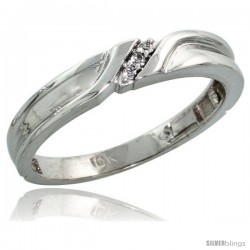 10k White Gold Ladies Diamond Wedding Band Ring 0.02 cttw Brilliant Cut, 1/8 in wide -Style 10w008lb