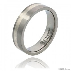 Surgical Steel Flat 6mm Band Cross Stripe Sterling Silver Inlay Matte Finish