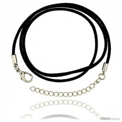 Jewelry Black Silk Cord Chain Necklace Stainless Steel Lobster Clasp