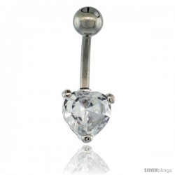 Surgical Steel Belly Button Ring w/ 8mm Clear Heart-shaped CZ Stone (Navel Piercing Body Jewelry)