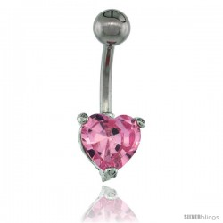 Surgical Steel Belly Button Ring w/ 8mm Pink Heart-shaped CZ Stone (Navel Piercing Body Jewelry)
