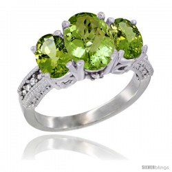 14K White Gold Ladies 3-Stone Oval Natural Peridot Ring Diamond Accent