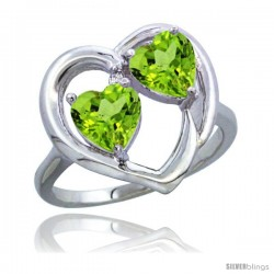 14k White Gold 2-Stone Heart Ring 6mm Natural Peridot stones Diamond Accent