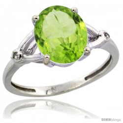 14k White Gold Diamond Peridot Ring 2.4 ct Oval Stone 10x8 mm, 3/8 in wide