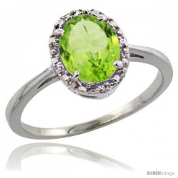14k White Gold Diamond Halo Peridot Ring 1.2 ct Oval Stone 8x6 mm, 1/2 in wide