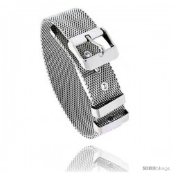 Stainless Steel Belt Buckle Mesh Bracelet, 7.5 in long