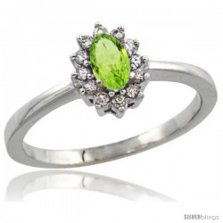 14k White Gold Diamond Halo Peridot Ring 0.25 ct Oval Stone 5x3 mm, 5/16 in wide