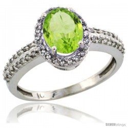 14k White Gold Diamond Halo Peridot Ring 1.2 ct Oval Stone 8x6 mm, 3/8 in wide