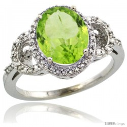 14k White Gold Diamond Halo Peridot Ring 2.4 ct Oval Stone 10x8 mm, 1/2 in wide