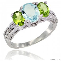14k White Gold Ladies Oval Natural Aquamarine 3-Stone Ring with Peridot Sides Diamond Accent