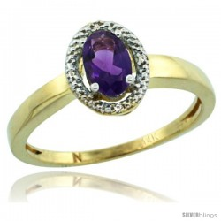 14k Yellow Gold Diamond Halo Amethyst Ring 0.75 Carat Oval Shape 6X4 mm, 3/8 in (9mm) wide