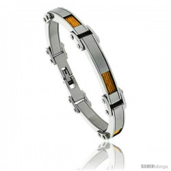 Stainless Steel Men's Cable Bracelet Gold Finish 1/4 in wide, 8 1/2 in