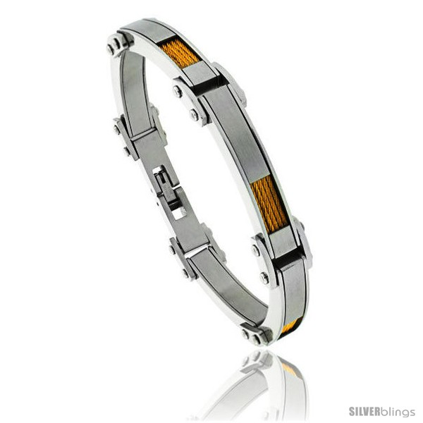 https://www.silverblings.com/1284-thickbox_default/stainless-steel-mens-cable-bracelet-gold-finish-1-4-in-wide-8-1-2-in.jpg