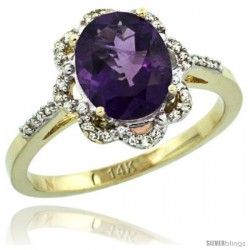 14k Yellow Gold Diamond Halo Amethyst Ring 1.65 Carat Oval Shape 9X7 mm, 7/16 in (11mm) wide