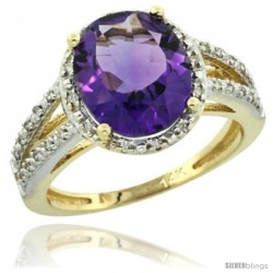 14k Yellow Gold Diamond Halo Amethyst Ring 2.85 Carat Oval Shape 11X9 mm, 7/16 in (11mm) wide