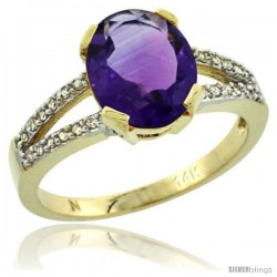 14k Yellow Gold and Diamond Halo Amethyst Ring 2.4 carat Oval shape 10X8 mm, 3/8 in (10mm) wide