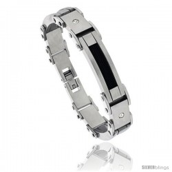 Stainless Steel Men's Cable Bracelet Black Finish Crystals Accent, 8 1/2 in