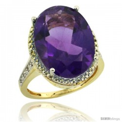 14k Yellow Gold Diamond Amethyst Ring 13.56 Carat Oval Shape 18x13 mm, 3/4 in (20mm) wide