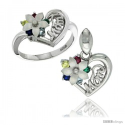Sterling Silver Heart Mom Ring & Pendant Set with Flower & Color CZ stones, Rhodium Finished
