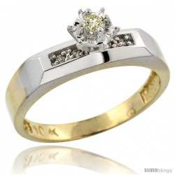 10k Yellow Gold Diamond Engagement Ring, 3/16 in wide -Style 10y109er