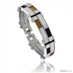 Stainless Steel Men's Cable Bracelet Two-tone Black & Gold Finish, 8 1/2 in