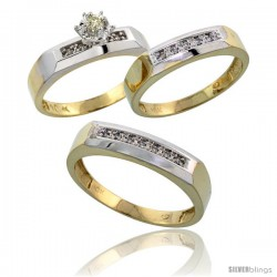 10k Yellow Gold Diamond Trio Wedding Ring Set His 5mm & Hers 4.5mm -Style 10y109w3