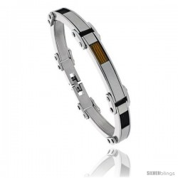 Stainless Steel Men's Cable Bracelet Two-tone Black & Gold Finish, 8 1/2 in -Style Bss416