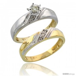 10k Yellow Gold Ladies' 2-Piece Diamond Engagement Wedding Ring Set, 3/16 in wide -Style 10y110e2
