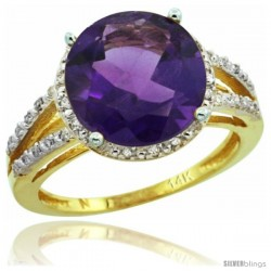 14k Yellow Gold Diamond Amethyst Ring 5.25 ct Round Shape 11 mm, 1/2 in wide