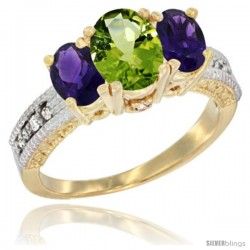 14k Yellow Gold Ladies Oval Natural Peridot 3-Stone Ring with Amethyst Sides Diamond Accent