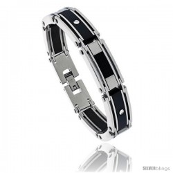 Stainless Steel Men's Cable Bracelet Black Finish Crystals Accent, 8 1/2 in -Style Bss417