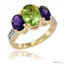 14K Yellow Gold Ladies 3-Stone Oval Natural Peridot Ring with Amethyst Sides Diamond Accent
