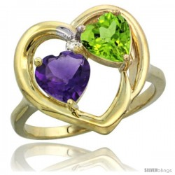 14k Yellow Gold 2-Stone Heart Ring 6mm Natural Amethyst & Peridot Diamond Accent